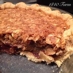 """Here it is: my first take on a recipe for oatmeal pie. I had a little fun with this one and added a bit of dark chocolate and a dash of bourbon. In case you were wondering, it does taste as good as it looks! • <a style=""""font-size:0.8em;"""" href=""""http://www.flickr.com/photos/54958436@N05/15584750077/"""" target=""""_blank"""">View on Flickr</a>"""