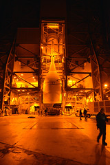 Orion and Transporter at Pad