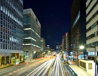 Sotobori midnight and Kanematsu Building (外堀通りの夜)