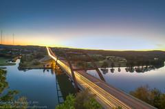Pennybacker Bridge (OscarAmos) Tags: sunset reflection water austin landscape availablelight coloradoriver lighttrails tamron hdr lightroom photomatix tonemapped detailenhancer 1024mm topazadjust nikond5100 oscaramosphotography
