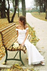 (Svetlana Vasilyeva) Tags: road camera flowers autumn trees wedding girls light woman blur flower color cute fall love film nature girl beautiful beauty face look leaves fashion analog 35mm bench hair neck happy photography bride necklace eyes hands pretty fuji hand dress boobs sweet russia bokeh body portait id lips ring rings together blonde backgrounds fujifilm bouquet zenit justmarried clavicle zenite analouge flickraward