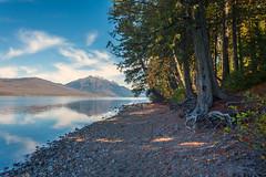 Bits of fall (JoLoLog) Tags: trees usa sunlight lake mountains fall montana mt joe rockymountains glaciernationalpark gnp lakemcdonald canonxsi bitsoffall
