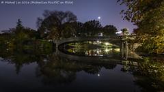 Bow Bridge at Night (DSC04289) (Michael.Lee.Pics.NYC) Tags: newyork centralpark bowbridge night lake longexposure highiso reflection autumn sony a7rm2 voigtlanderheliar15mmf45 moon
