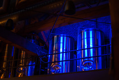 Canoe Brew (Isaac Hilman) Tags: canoe brewpub brewing beer vats tanks restaurant bc victoria craft harbour waterfront canada nikon d800 f14g 50mm colors cool blue bricks wood lights