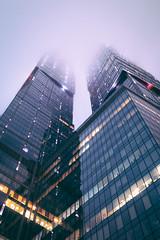 Foggy night... or day? (konstantinkulak) Tags: foggy apartaments apartments condominium office city weather rainy sky fog clouds tower moscow capital trade center moody dark depressive