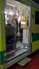 Students getting a closer look inside the ambulance