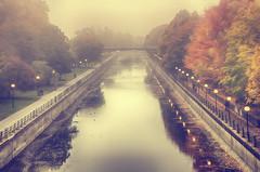 Misty Morning (flashfix) Tags: october202016 2016 2016inphotos nikond7000 nikon ottawa ontario canada 55mm300mm canal rideaucanal autumn trees bridge mist fog water nature mothernature fall lines cityscape