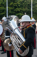 HM Royal Marines Band (Jez B) Tags: goodwood revival 2016 historic race racing car motor auto sport motorsport vintage 40s 50s 60s 1940s 1950s 1960s circuit hm her majesty majestys royal marines band portsmouth tuba brass wind instrument silver shiny dress uniform