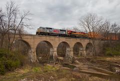 Starrucca Viaduct Jr. (Jake Branson) Tags: train railroad kansas city southern kcs piasa creek viaduct bridge concrete arch new dehli illinois il sd70mac emd