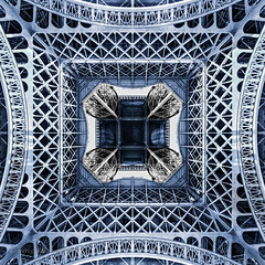 The new paint job (Howard Ferrier) Tags: france pattern shapes observationtower viewfrombelow blue paris eiffeltower steel monochrome architecture iledefrance europe leisurebuildings
