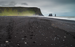 Reynisfjall Mountain (Jordan Schwarz Photography) Tags: iceland island water sea wasser meer waves sand black volcano hraun rock mountain wander hiking cold august september sky clouds