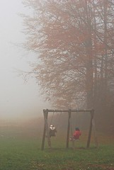 Mist (MCalaga) Tags: foggy fog mist game swing playing autumn color fall tree nature woods