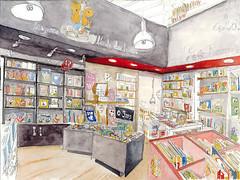 Niort, Librairie des Halles, le square (Croctoo) Tags: bouquin livre librairie watercolor poitoucharentes poitou niort aquarelle croquis croctoofr croctoo