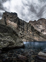 Calm before the storm (PixStone) Tags: clouds mountain lake high dynamic range chasm rocky national park longs peak colorado fourteener ice cold d7100 exposure usa landscape summit nature wind transparence reflection calm before storm raging tranquility
