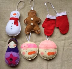 Assorted Holiday Ornaments (LookHappyShop) Tags: ornament holiday decoration christmas gift felt embroidered handmadeetsy lookhappy winter hanging ribbon custom mittens snowman snowgirls pink gingerbread russian doll matryoshka babushka purple red pudgy