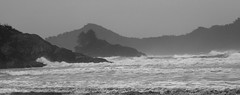 Chesterman Beachscape (Scrambler27) Tags: scrambler27 tofino landscape ocean blackandwhite beach bc dramatic stormy waves mountain shoreline seashore foam