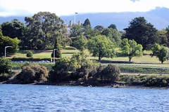 Hobart. A partial view of the Gothic Government House of Tasmania from the Derwent River. (denisbin) Tags: hobart tasmania salamancaplace cottage batterypoint egyptianstyle jewishsynagogue synagogue cosmos governmenthouse derwentriver temple ladyfranklin greektemple classical