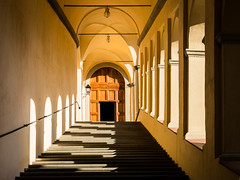 Stairs and Shadows (Erik Pronske) Tags: ancient tuscany staircase historic catholic sepia monestary certosadifirenze firenze sepiatone walkway architecture italy florence toscana it