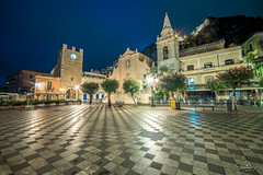 San Giuseppe (Bommer60) Tags: taormina sicilia italy it piazzaixaprile night dawn bluemoment sicily messina tiles square before morning church longexposure samyang14mmf28 wideangle