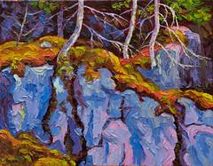 Rock face, Tunnel Island (RobM333) Tags: oil impasto painting impressionism impressionistic paletteknife fall autumn rocks cliff rockface canadianshield shieldcountry ontario kenora