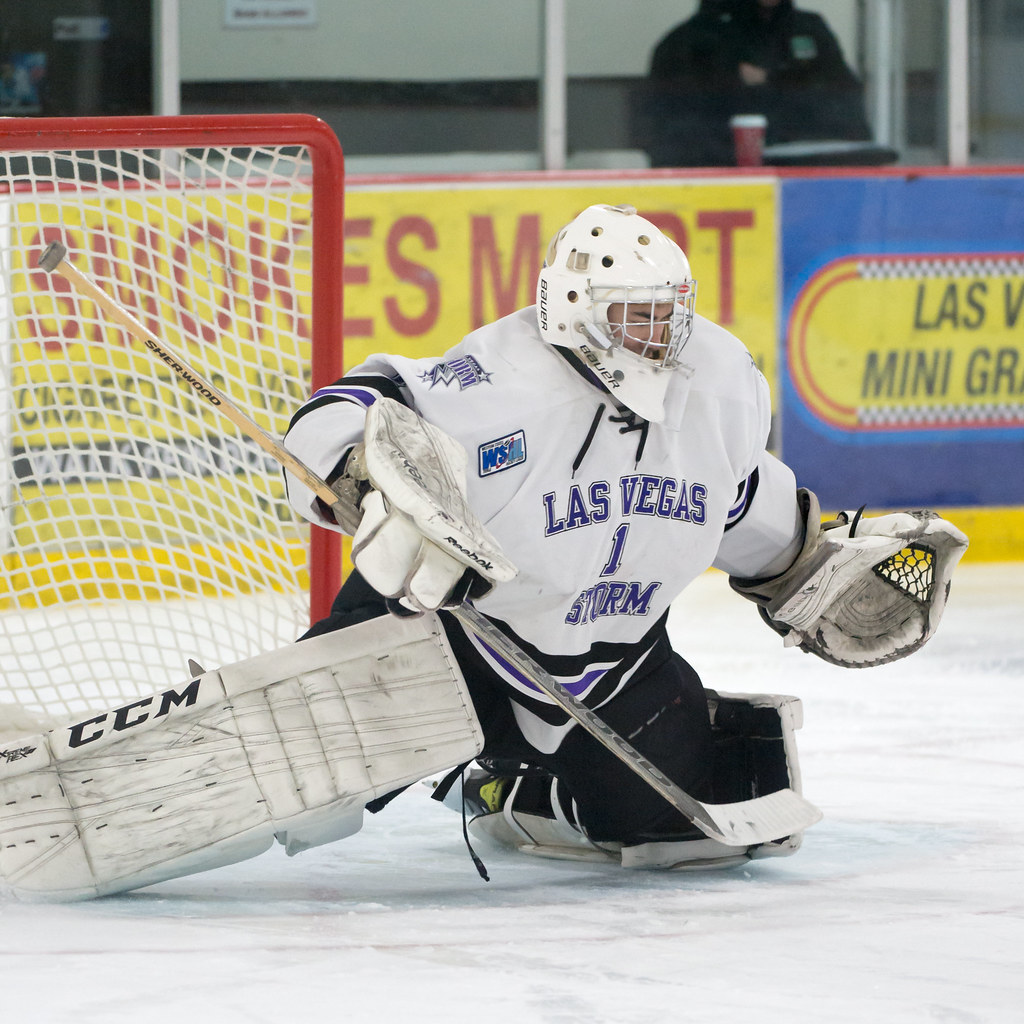 Image result for photo of goalie spencer kozlowski las vegas storm wshl