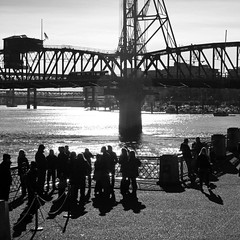 Riverside (JB by the Sea) Tags: portland oregon multnomahcounty december2016 tommccallwaterfrontpark willametteriver blackandwhite bw hawthornebridge