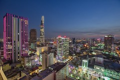 HCMC (Rolandito.) Tags: vietnam ho chi minh city hcmc blue hour vantage point blaue stunde dusk twilight abend evening night cityscape above bar rooftop
