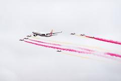 Airbus A330-302 - Iberia & 7 x CASA C-101 Aviojet - Patrulla guila / Ejrcito del Aire (Luis Prez Contreras) Tags: madrid show espaa festival del de casa spain day air olympus airbus 75 aire base a330 area omd iberia em1 areo guila spotters ejrcito torrejn aviojet patrulla c101 em5 ardoz aire75