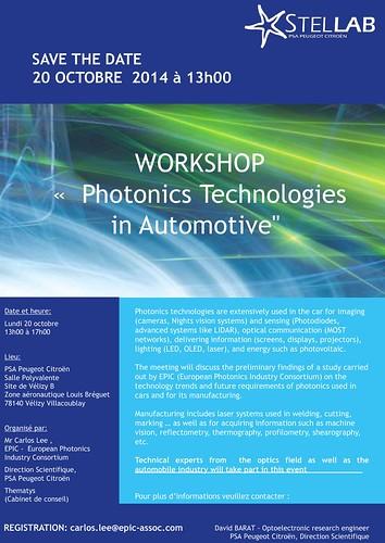Workshop Photonics for Automotive 20 October 2014 hosted by PSA Peugeot Citroën