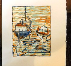 waiting for the tide, light blue (Bella 44) Tags: boats printmaking linocut mevagissy fishng
