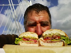 selfie (Jef Poskanzer) Tags: sandwich baybridge