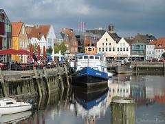 Grey Town by the Sea (ChristianeBue) Tags: reflection water port wasser hafen schleswigholstein reflektion husum