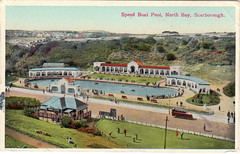 Speed Boat Pool (storiesfromscarborough) Tags: pool bay 1930s speedboat postcard north boating scarborough bathing