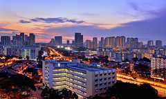 Through the  City (Rebecca Ang) Tags: city light sunset urban architecture pie lights highway singapore cityscape expressway afterglow urbanarchitecture panislandexpressway rebeccaang