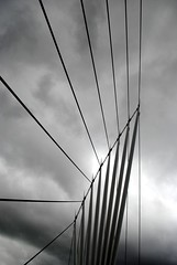 Cabled (zawtowers) Tags: city uk bridge white black water monochrome manchester mono october media flickr arch afternoon crossing cloudy saturday cable line 25th salford quays meet struts 2014