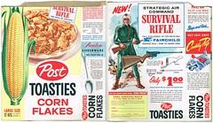 Vintage Post Toasties w Survival Rifle (bolio88) Tags: vintage toy corn post silverware box rifle cereal cuddly pup flakes survival avalon toasties