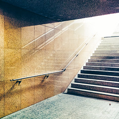 station. (angsthase.) Tags: light 6x6 lines stairs reflections germany subway square deutschland licht shadows phone treppe ubahn nrw handrail schatten ruhrgebiet dortmund 2014 ruhrpott nexus5