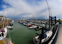 Fisheye on the marina (gillybooze (David)) Tags: sea sky weather clouds marina boats brighton fisheye vista ©allrightsreserved
