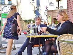 2014-10-18  Paris - Les Pipos et l'X- 2 Rue de l'École Polytechnique - 52 Rue de la Montagne Sainte Geneviève - Place Larue (P.K. - Paris) Tags: street people paris café french october terrace candid terrasse sidewalk octobre 2014