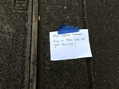 """Inexplicable Sign Taped to Sidewalk says """"Music Together Teachers: This is from one of your families!"""" (Lynn Friedman) Tags: e sign inexplicable outofcontext note hand written sidewalk blue tape teacher music gift 94114 noevalley 24th street sanfrancisco lynnfriedman castro"""