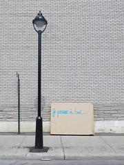 Je pense  toi... (Alex L'aventurier,) Tags: street city blue urban canada lamp lines wall canon graffiti  montral post quebec montreal bricks bleu mat qubec poteau rue mur ville je lignes lampadaire briques urbain pense toi matelas g15
