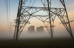 High Marnham sunrise .1.10.11 (deltic17) Tags: sunset tower sunrise electricity pylons highmarnham highmarnhampowerstation