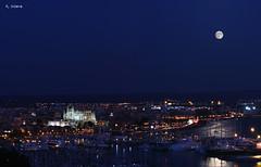 Palma (Vctor Onieva) Tags: luna llena azul catedral palma puerto horaazul exposicin barcos almudaina edificios ciudad ciutat altura bellver