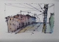 A Pen and wash experiment with Soluble ink and Watercolour (Peter Sheeler) Tags: video youtube youtubers landscape art original watercolor winsorandnewton watercolour painting paintingaday penandink architecture ink moleskine canada waterbrush arches lamy uniball higgins fountain soluble street scene city
