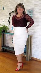 White Skirt (Trixy Deans) Tags: tgirl tv transgendered transvestite tranny tgirls xdresser sexy sexytransvestite sexyheels sexylegs cute dress dresses crossdresser crossdress elegant feminine legs longskirt minidress hot heels highheels heelssexy
