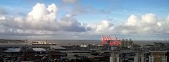 Mersey Vista (White Pass1) Tags: bootle thewirral newbrighton liverpooldocks portofliverpool rivermersey clouds cranes dockcranes windturbines