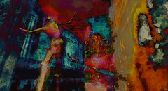 Shout / Artist : Haveit Neox (Bamboo Barnes - Artist.Com) Tags: accalpha haveitneox secondlife art installation virtualart digitalart surreal vivid red blue yellow green dark light shadow painting photo wall building ship sky bamboobarnes