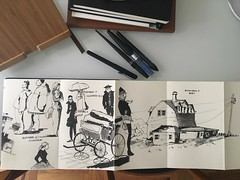 Inktober #5,6,7 (matteotarenghi) Tags: tumblr barn silhouettes calesse people sketching inktober2016 inktober tarenghi matteo moleskine concertina pilot sumi pen carbon uniball micro air