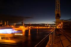 Night at Karlsruhe Harbour (christophjkonrad) Tags: dlrg noah flood catastrophe german karlsruhe katastrophe bung berflutung harbour longexposure germany night river water