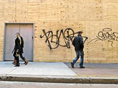 BostonTagsonWaPlywood (fotosqrrl) Tags: boston massachusetts streetphotography urban washingtonstreet plywood construction tagging